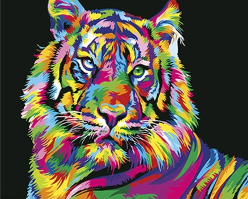 2021 New Arrival Hot Sale Colorful Tiger Diy Paint By Numbers Kits Uk VM91201