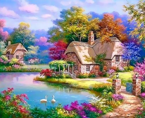 2021 Beautiful Landscape Cottage Paint By Numbers Kits Uk XQ3309