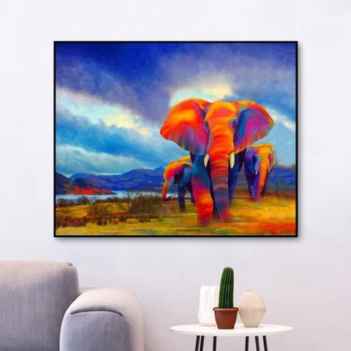 2021 Animal African Colorful Elephants Paint By Numbers Kits Uk VM00190