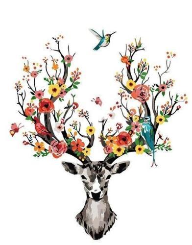 2021 Beautiful Deer & Flower Diy Paint By Numbers Kits Hot Sale Uk VM94200