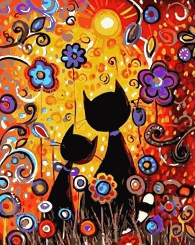 2021 Best Cute Cartoon Cat Diy Paint By Numbers Kits Uk WM1101