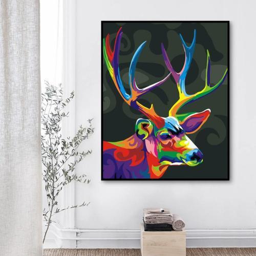 2021 Best Colourful Fantasy Style Deer Diy Paint By Numbers Kits Uk WM1176