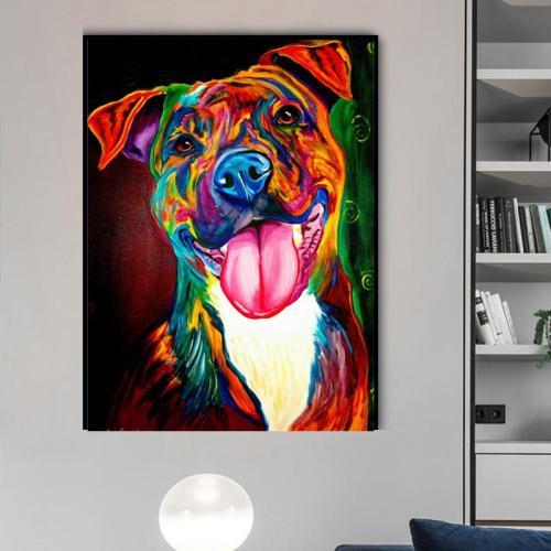 2021 Colorful Modern Art Dog Diy Paint By Numbers Kits Hot Sale UK VM57814