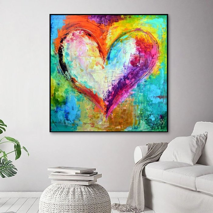 2021 Best Colorful Heart Diy Paint By Numbers Kits Online Sale Uk VM90132