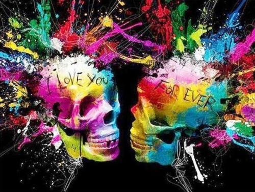 2021 Colorful Modern Art Skull Paint By Numbers Kits Uk FA90028