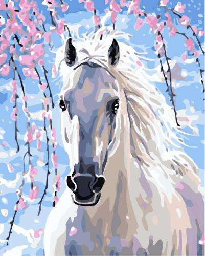 2021 New Arrival Watercolor Style White Horse Diy Paint By Numbers Kits Uk WM033