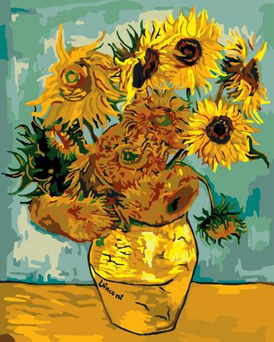 2021 Van Gogh Sunflower Diy Paint By Numbers Kits Uk GX081
