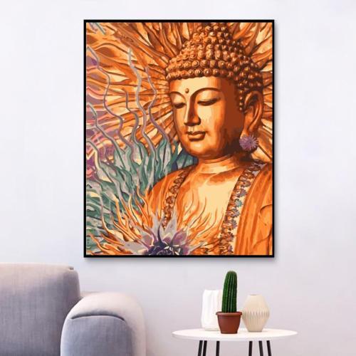 2021 Golden Buddha Wall Decor Diy Paint By Numbers Kits Uk WM805