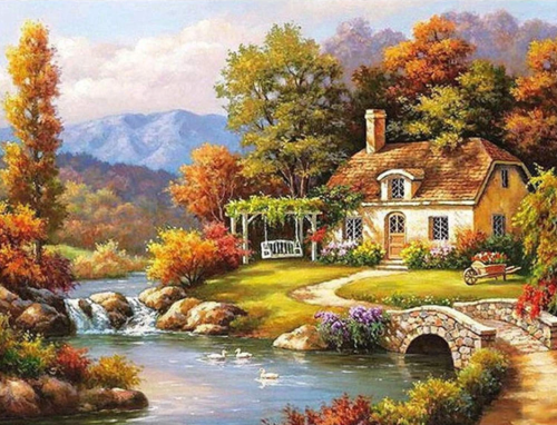 2021 Beautiful Landscape Cottage Diy Paint By Numbers Kits Uk VM91491