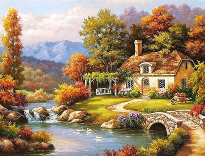 2021 Beautiful Landscape Cottage Diy Paint By Numbers Kits Uk VM91491