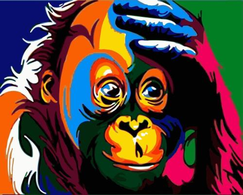 2021 Colorful Modern Art Monkey Paint By Numbers Kits Uk WM677