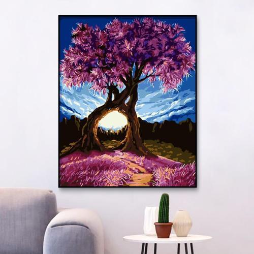 2021 Wishing Tree Scenery Diy Paint By Numbers Kits Uk WM732