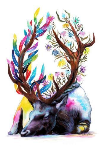 2021 Animal Colorful Deer Paint By Numbers Kits UK VM94711