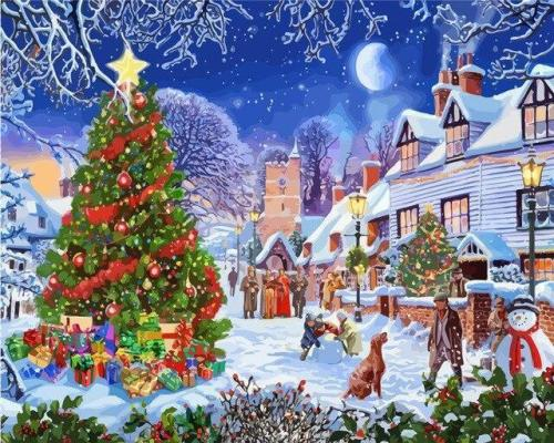 2021 Christmas Series Diy Paint By Numbers Kits Uk NP1168