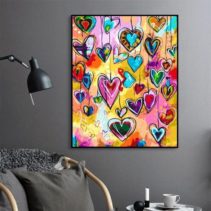 2021 Colorful Heart Shaped Pattern Diy Paint By Numbers Kits Hot Sale Uk OA90132