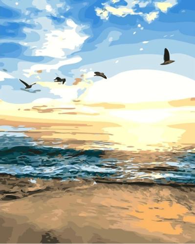 2021 Seascape Landscape Diy Paint By Numbers Kits Uk Q3082