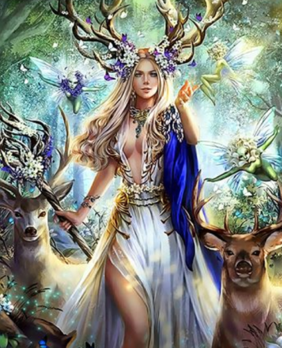 2021 Best Fantasy Style Beautiful Fairy And Deer Diy Paint By Numbers Kits Uk Q3852
