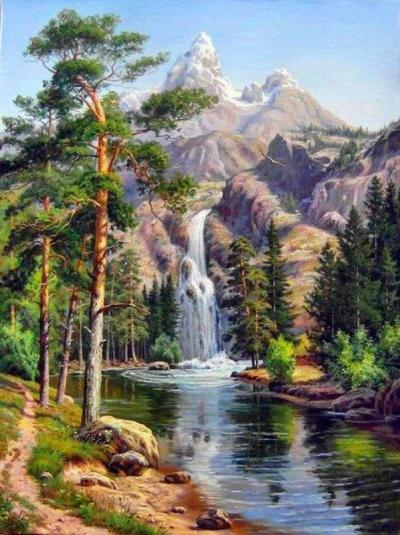 2021 New Hot Sale Landscape Waterfall Paint By Numbers Kits Uk VM93115