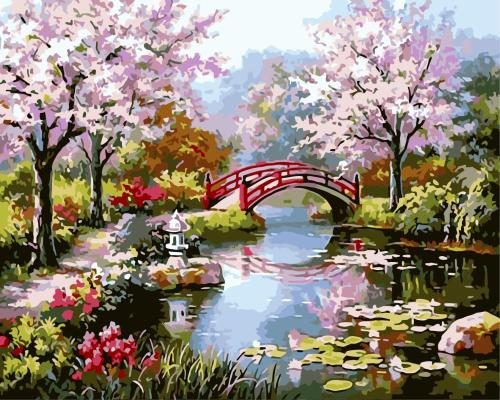 2021 Cherry Blossoms & Bridge & Lake Diy Paint By Numbers Kits Uk WM515