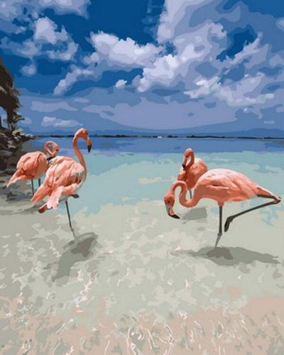 2021 Watercolor Flamingo Beautiful Sea Diy Paint By Numbers Kits UK VM30126
