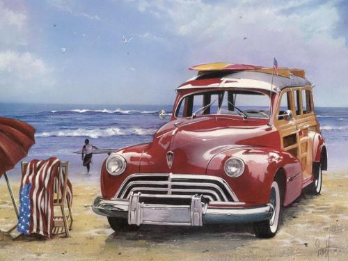 Vehicle Red Car Seaside Diy Paint By Numbers Kits BN00212