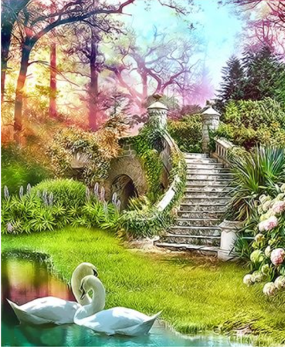 Landscape Garden Diy Paint By Numbers Kits  XQ3362