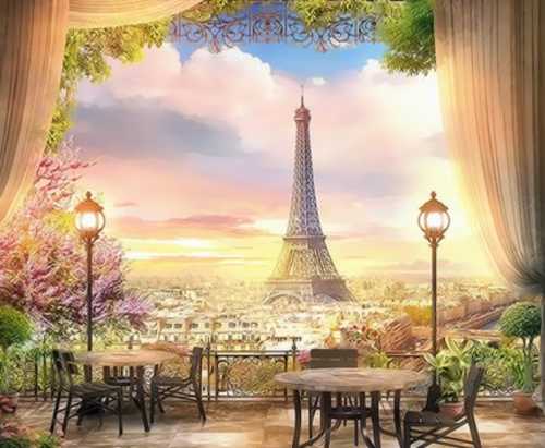 Landscape Eiffel Tower Diy Paint By Numbers Kits  XQ3451