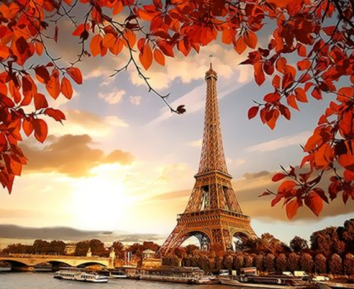Landscape Eiffel Tower Diy Paint By Numbers Kits XQ3568