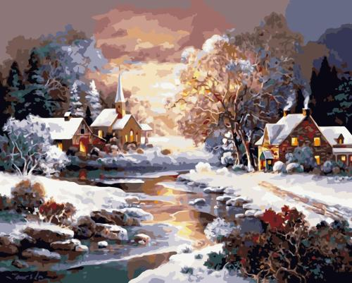 Winter Snow Village Paint By Numbers Kits WM093