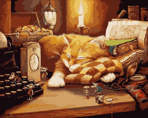 Sleeping Cat Diy Paint By Numbers Kits WM223