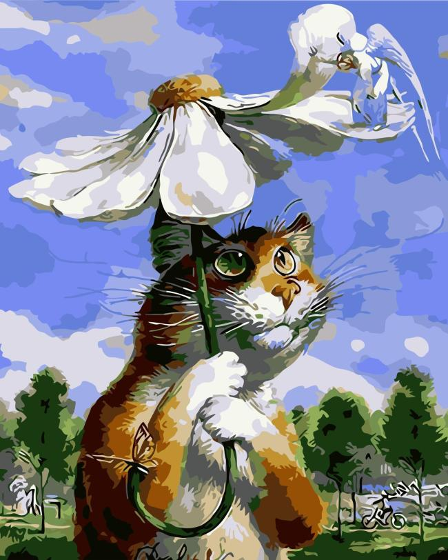 Flower Cat Diy Paint By Numbers Kits WM217