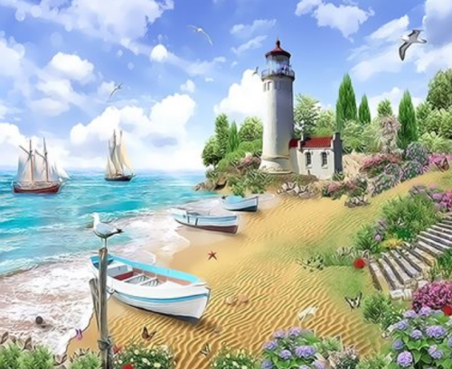 Lighthouse Diy Paint By Numbers Kits  XQ3523