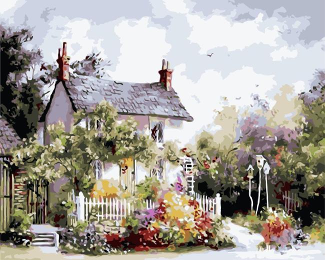 Landscape Cottage Flowering Yard Diy Paint By Numbers Kits WM1258