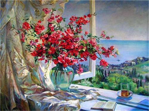 Hot Sale Flower Diy Paint By Numbers Y5498
