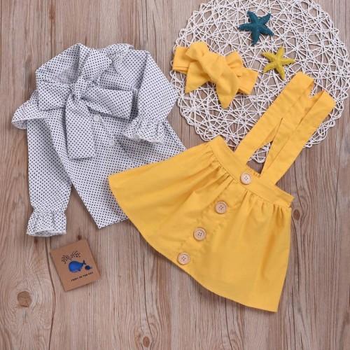 3pcs Polka dot Top and Overall Skirt and headband Sets