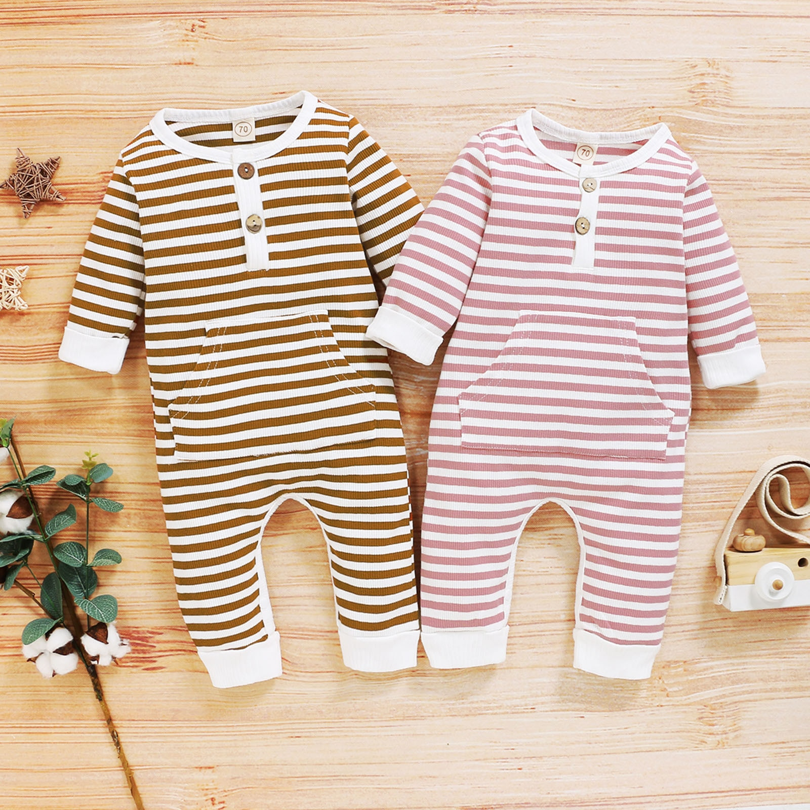 Stripe Long-sleeve Jumpsuit