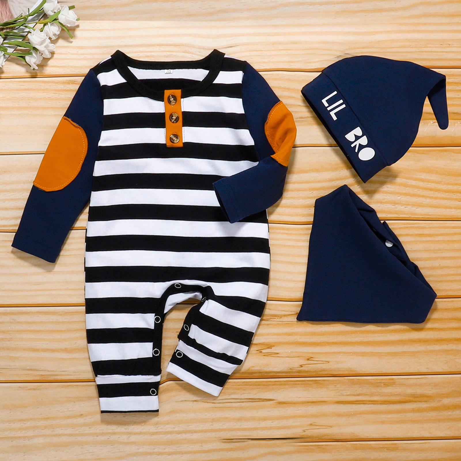 3pcs Stripe Jumpsuit and Hat and Bibs Set