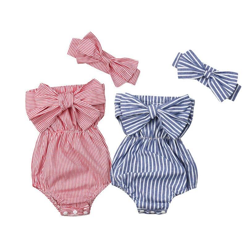 2pcs Stripe Bow Romper and Headband Set