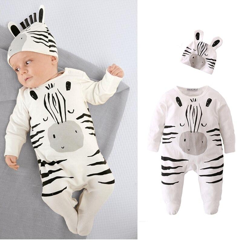 2pcs Zebra Print Jumpsuit and Hat