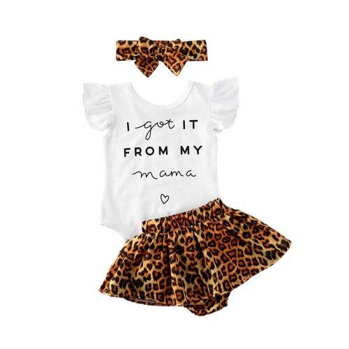 3pcs Letter Romper and Shorts and Headband Set