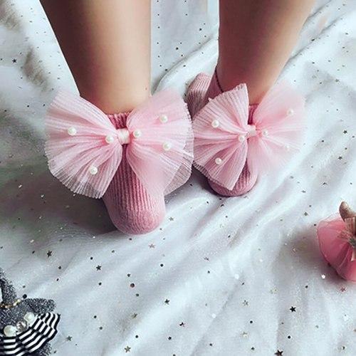 Multicolor Lace Bow Sock