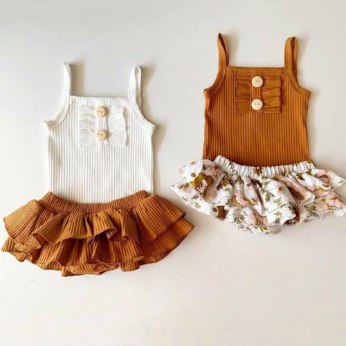 2pcs Ruffle Romper and Skirt Set