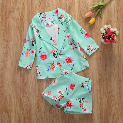 2pcs Floral Coat and Shorts Set