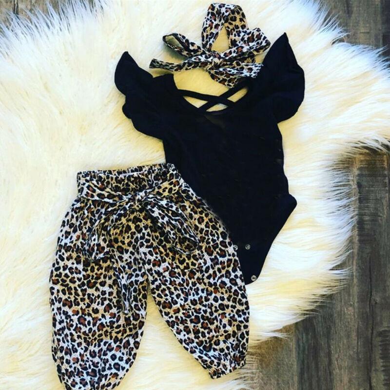 3pcs Ruffle-sleeve leopard Set