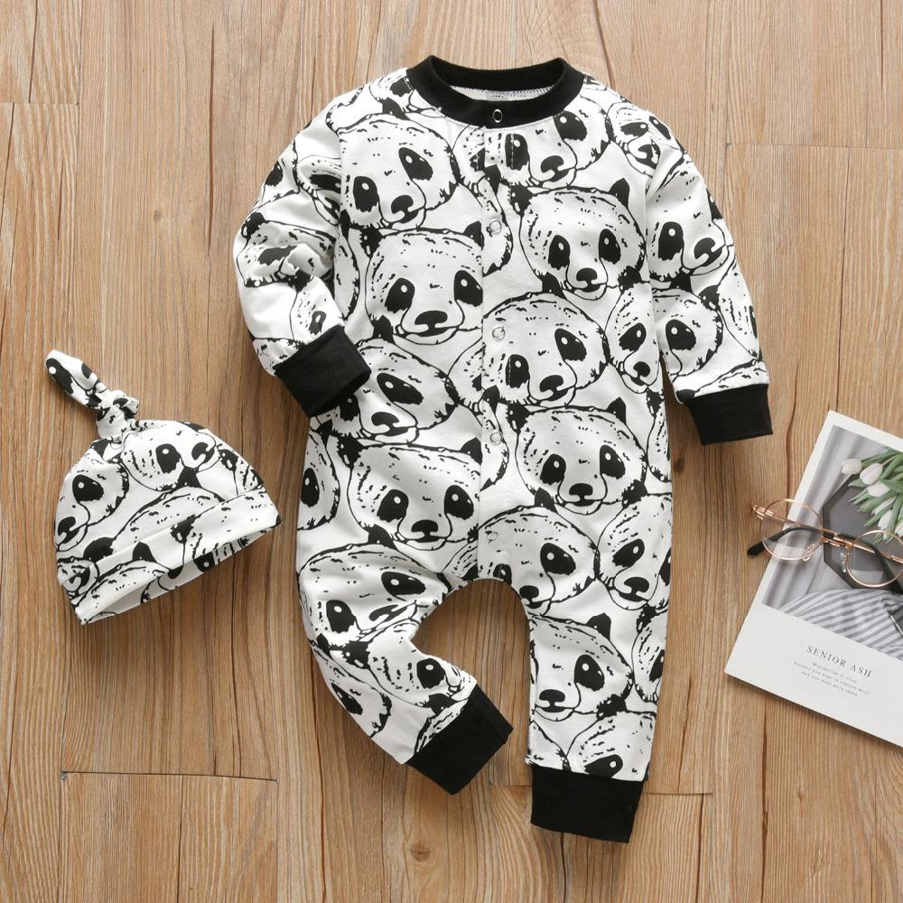2pcs Panda Print Jumpsuit and Hat