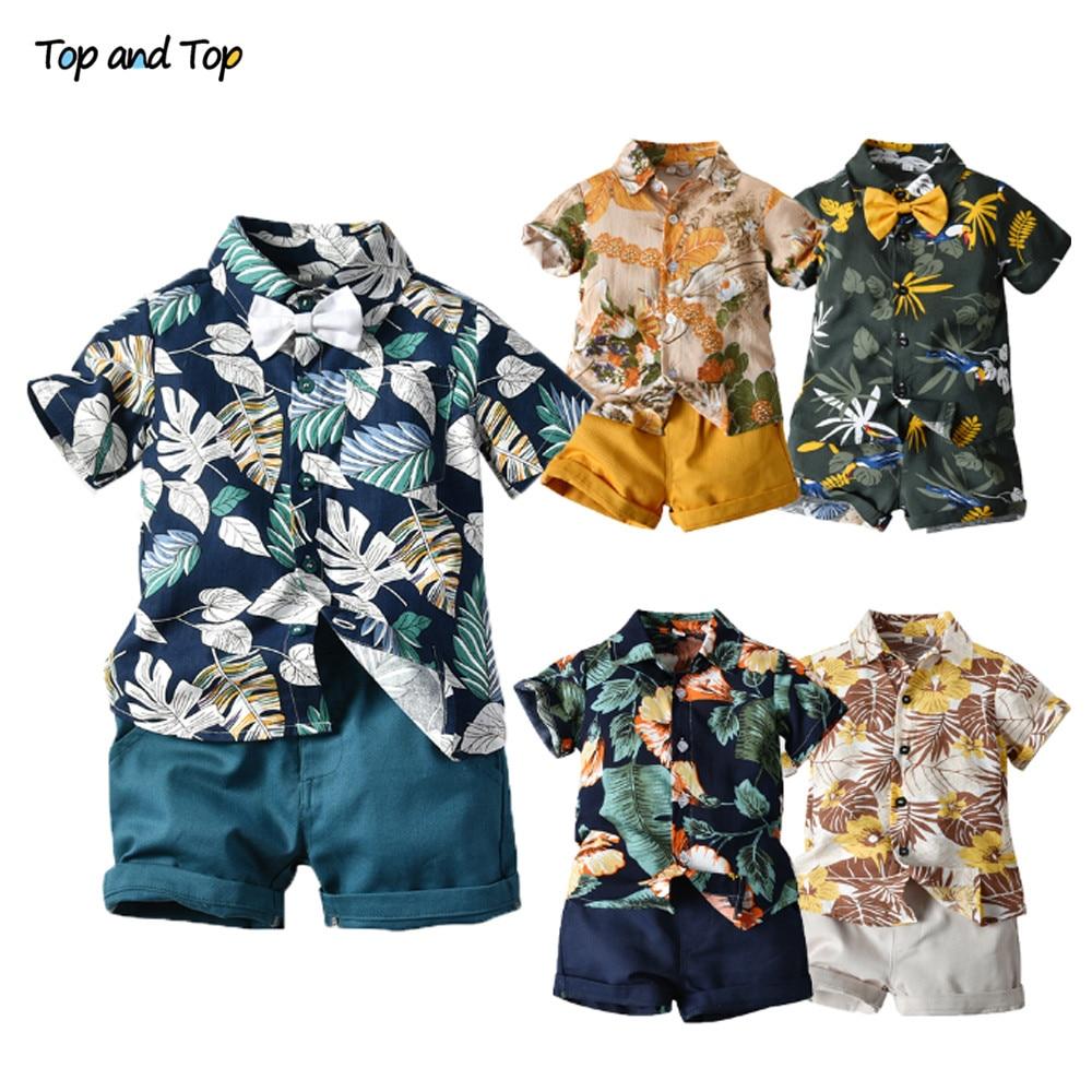 2pcs Floral Short Sleeve Bowtie Suit