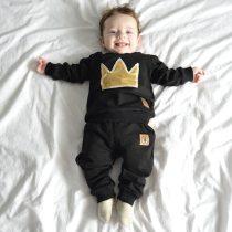 2pcs Crown Print Suit