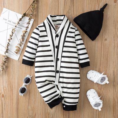 Stripe Polo-collar Jumpsuit