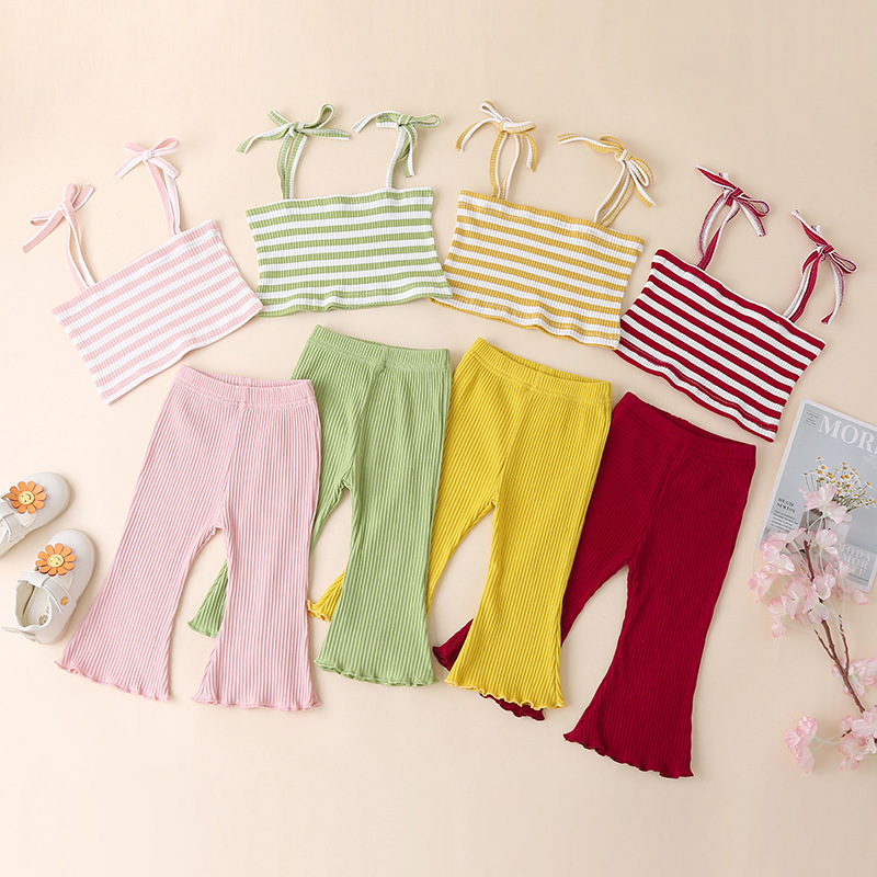 Stripe Bow Top and Pant Set