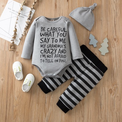 3pcs Letter Romper and Stripe Pant and Hat Set